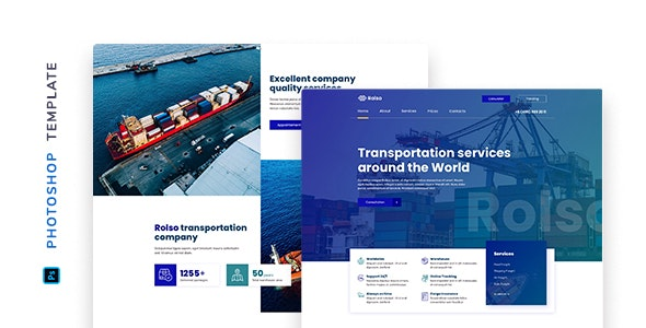 Rolso – Logistic Company Template for Photoshop - Corporate Photoshop