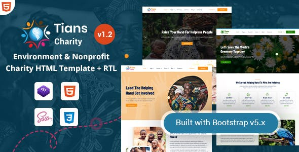Tians - Environment & Nonprofit Charity Template