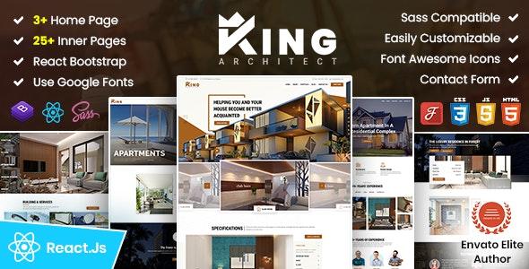 KingArchitect | Property Portfolio & Real Estate React Template - No JQuery - Business Corporate