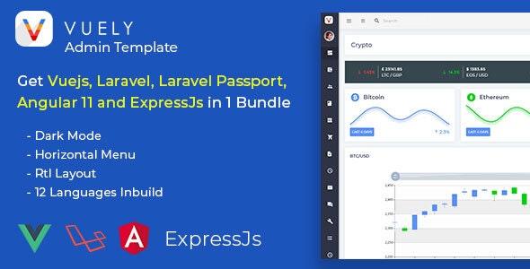 Vuely - Vuejs, Laravel, Angular 10, Expressjs Material Design Admin Template - Admin Templates Site Templates