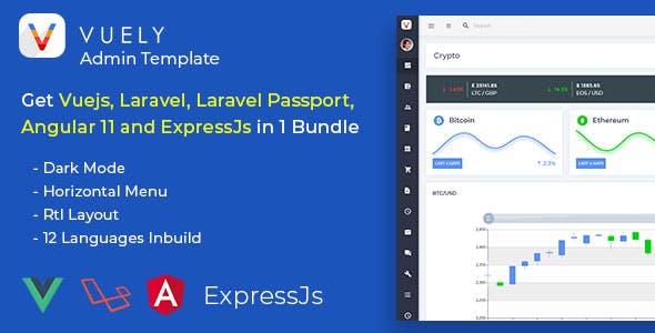 Vuely - Vuejs, Laravel, Angular 10, Expressjs Material Design Admin Template