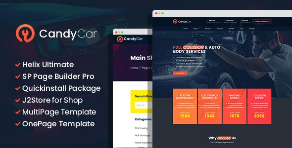 CandyCar - Auto service Joomla Template With Page Builder - Joomla CMS Themes