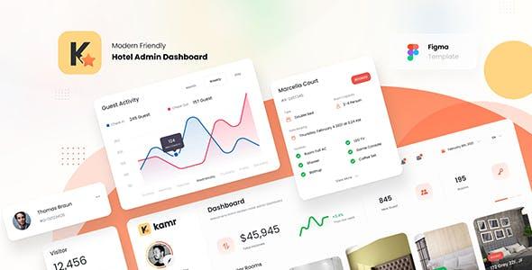 Kmar - Modern Hotel Admin Dashboard UI Template Figma