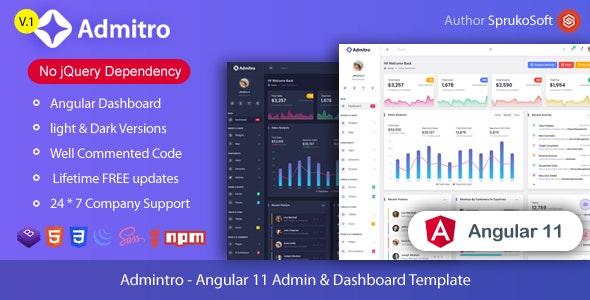 Admitro - Angular 11 Admin & Dashboard Template - Admin Templates Site Templates