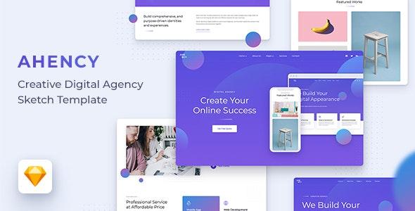 AHENCY - Creative Digital Agency Sketch Template - Portfolio Creative