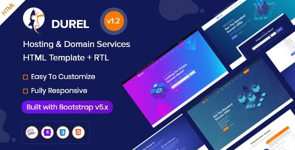 Durel - Hosting & Domain Services HTML Template