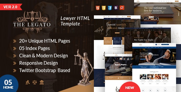 The Legato lawyer HTML template - Business Corporate