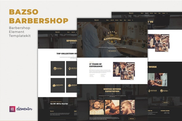 Bazso - Barbershop Elementor Template Kit - Fashion & Beauty Elementor