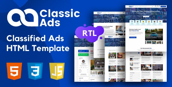 Classicads - Classified Ads HTML Template - Business Corporate