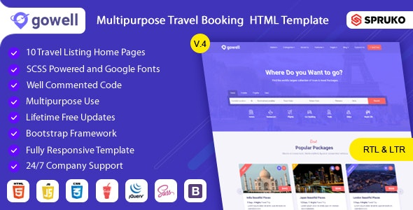 Gowell - Travel HTML Template - Site Templates