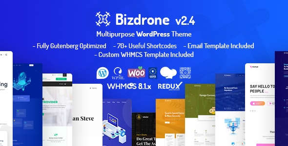 Bizdrone | ICO Crypto Landing & Cryptocurrency WordPress Theme with whmcs Template - Technology WordPress
