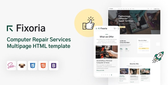 Fixoria - Computer Repair Services HTML5 Template - Computer Technology