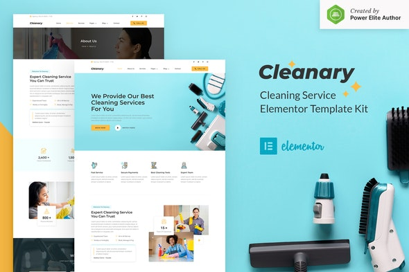 Cleanary - Cleaning Service Company Elementor Template Kit - Business & Services Elementor