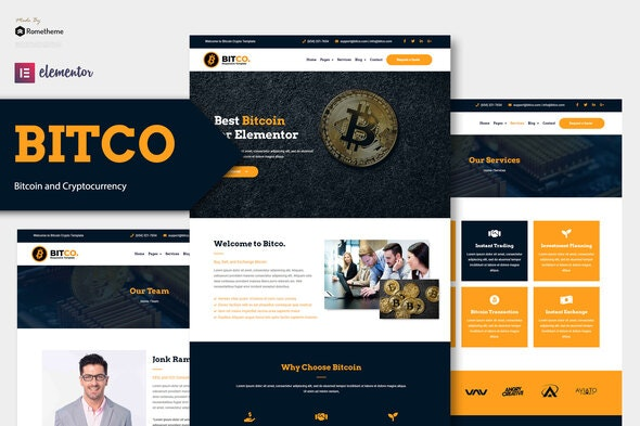 Bitco - Bitcoin & Cryptocurrency Elementor Template Kit - Business & Services Elementor