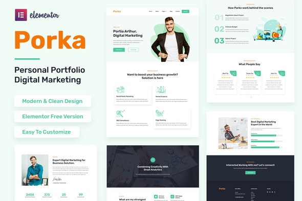 Porka - Digital Marketing Personal Portfolio Elementor Template Kit - Personal & CV Elementor
