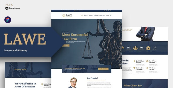 LAWE - Lawyer and Attorney Figma Template - Corporate Figma