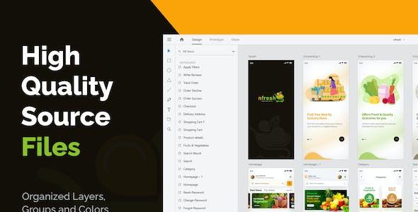 nfresh | XD Food & Grocery Mobile App UI Kit