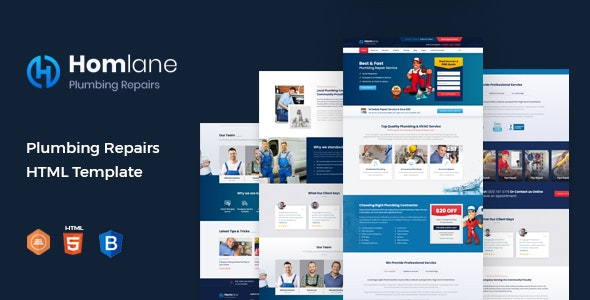 Homlane - Plumbing HTML Template - Business Corporate