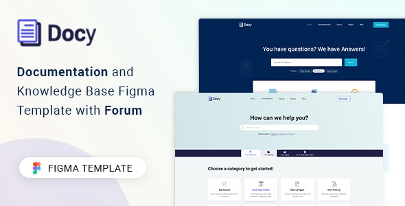 Docy - Documentation and Knowledge Base Figma Template - Software Technology