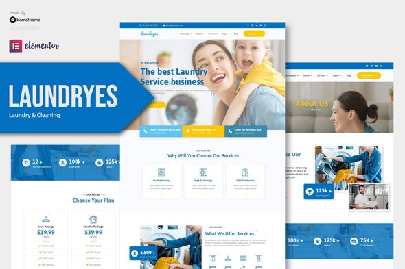 Laundryes - Laundry & Cleaning Elementor Template Kit - Business & Services Elementor