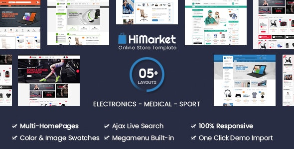 HiMarket - Electronics Store/Medical/Sport Shop WooCommerce WordPress Theme - WooCommerce eCommerce