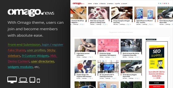 Omago News - User Profile Membership & Content Sharing Theme