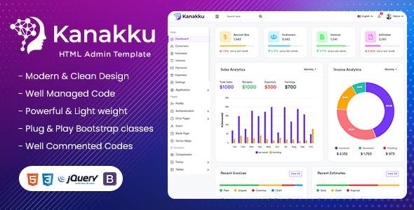 Kanakku - Sales, Invoices &  Accounts Admin Template (HTML5 + Laravel + Vuejs + Angular + Reactjs)