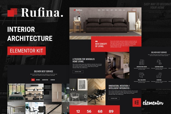 Rufina - Interior Architecture Elementor Template Kit - Real Estate & Construction Elementor