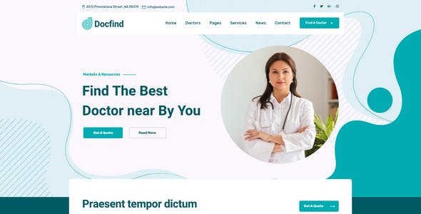 Docfind – Doctors directory and Book Online XD Template