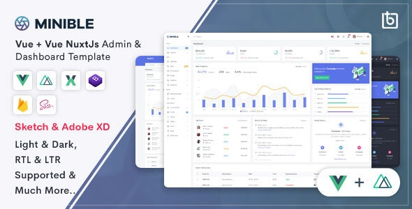 Minible - Vue & Vue Nuxt Admin Dashboard Template - Admin Templates Site Templates