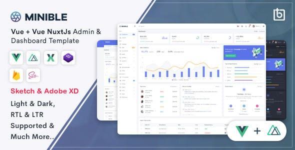 Minible - Vue & Vue Nuxt Admin Dashboard Template