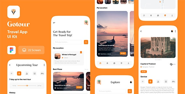 Gotour - Travel app UI kit for figma - Travel Retail