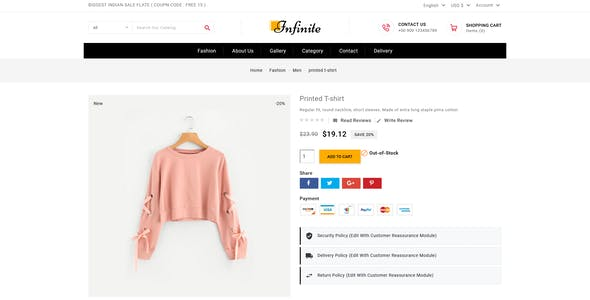 Infinite Fashion & Accessories Prestashop Theme