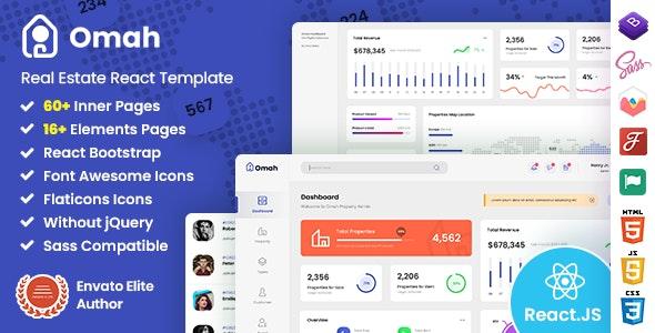 Omah - Real Estate React Admin Dashboard Template - Admin Templates Site Templates