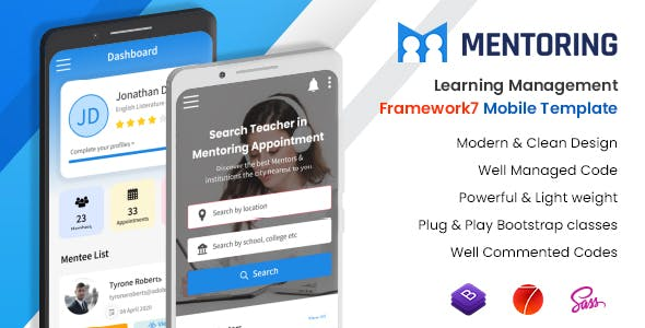 Mentoring - Courses Booking Mobile App LMS Template (Framework7 + Bootstrap + PWA)