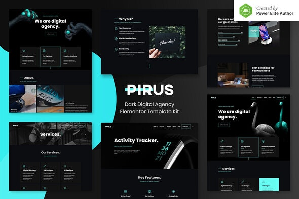 PIRUS – Dark Digital Agency Elementor Template Kit - Creative & Design Elementor