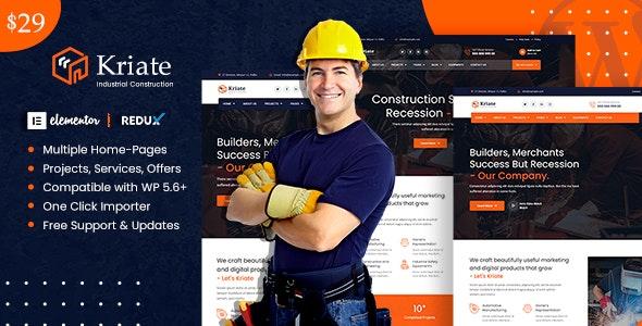 Kriate - Industrial Construction Multipurpose WordPress Theme - Business Corporate