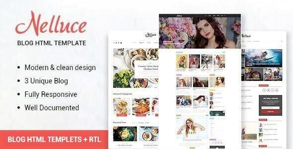 Nelluce - Responsive HTML5 Blog Template + RTL