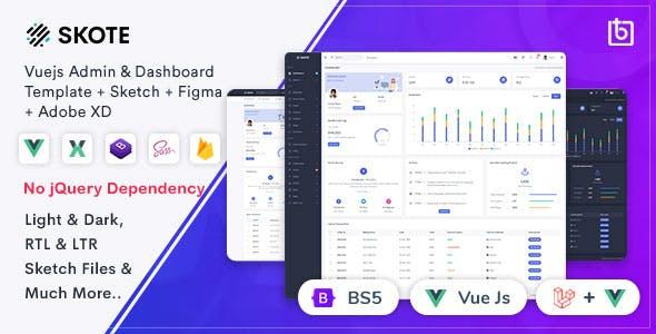 Skote - Vuejs Admin & Dashboard Template + Sketch
