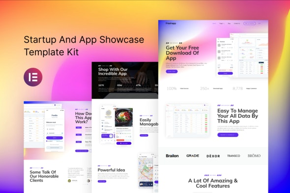 FreshApp - Startup & Showcase Elementor Template Kit - Technology & Apps Elementor