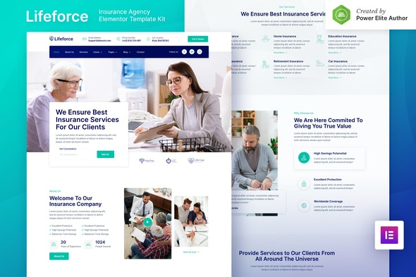 Lifeforce – Insurance Agency Elementor Template Kit - Business & Services Elementor
