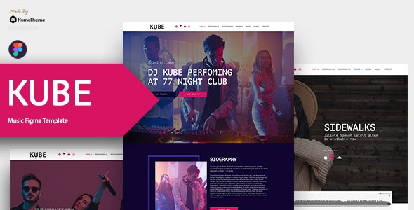 Kube - Music, Band, Dj Figma Template - Entertainment Figma