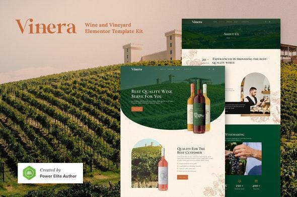 Vinera – Wine & Vineyard Elementor Template Kit - Food & Drink Elementor