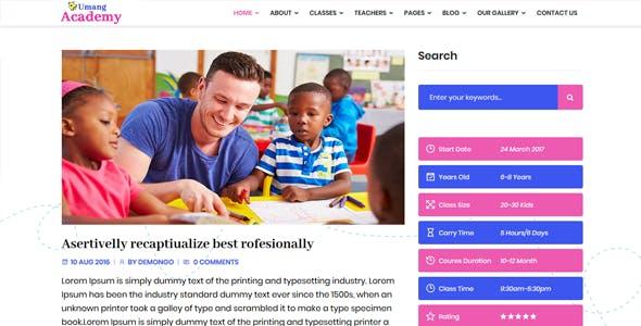 Umang Academy : Kindergarden, Kids Play School React Template