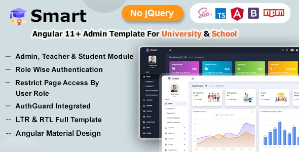 Smart - Angular 11+ Admin Dashboard Template for University, School & Colleges - Admin Templates Site Templates