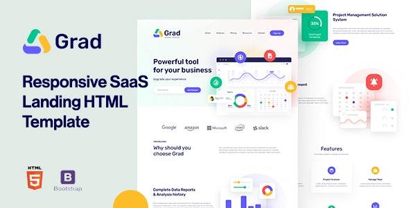 Grad - Responsive Sass Landing Page Template - Software Technology