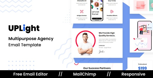 Uplight Agency - Responsive Email Template For Agency With Free Email Editor - Newsletters Email Templates