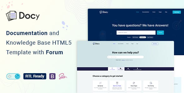 Docy - Documentation And Knowledge Base HTML5 Template with Helpdesk Forum