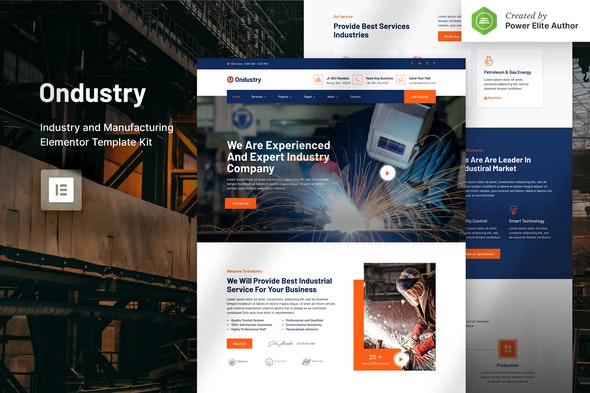 Ondustry – Industry & Manufacturing Elementor Template Kit - Business & Services Elementor