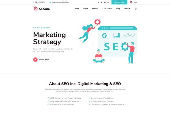 Aseona | SEO Digital Marketing Elementor Template Kit - Business & Services Elementor